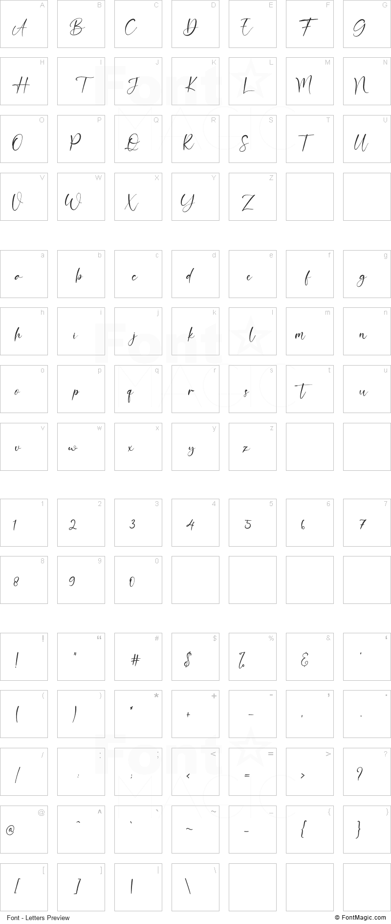 Double Signature Font - All Latters Preview Chart
